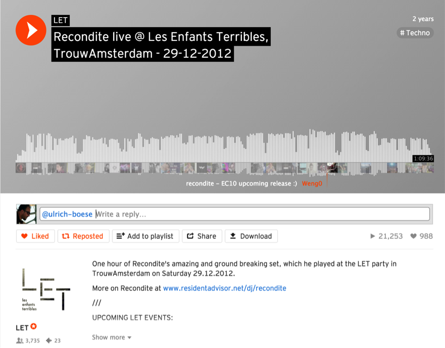Music science oreilly media figure 1 2 a soundcloud track showing listener comments atop the waveform fandeluxe Images