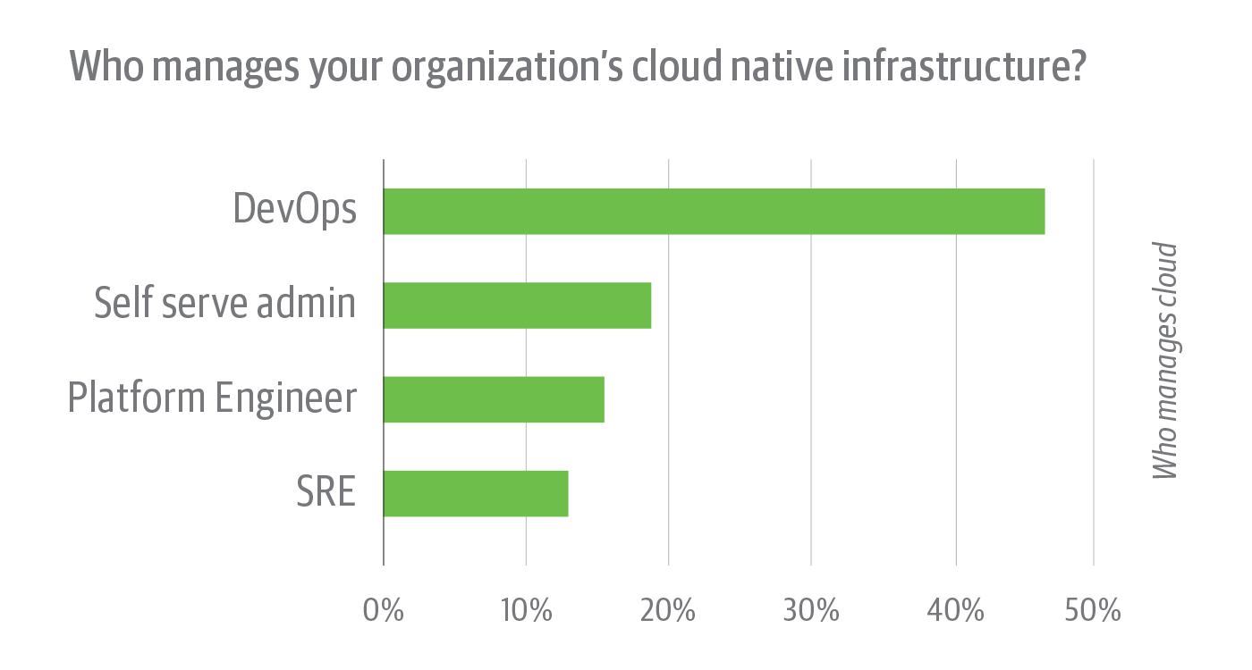 Teams that manage cloud native infrastructure among survey respondents