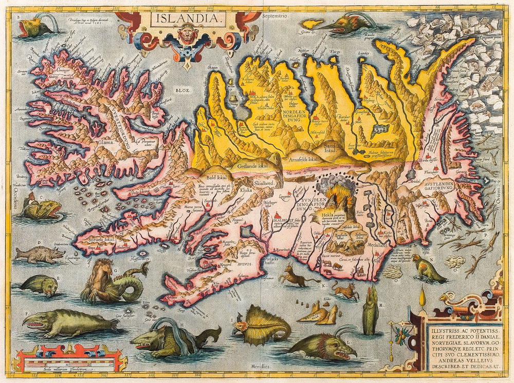 """Islandia"" map by Abraham Ortelius"