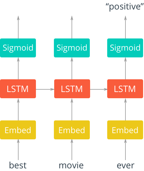 Unrolled single-layer LSTM network with embedding layer