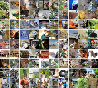 Images produced by a PixelRNN model trained on the 32x32 ImageNet data set