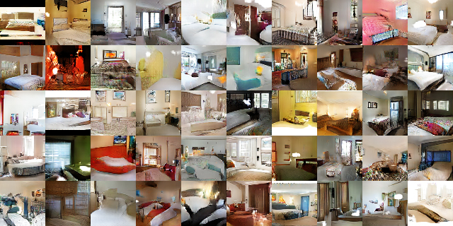 Images of bedrooms generated by a GAN