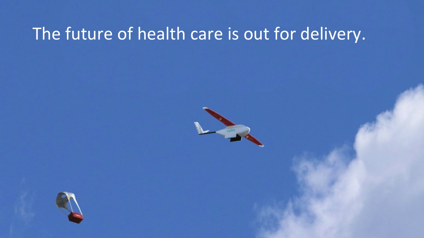 A Zipline drone delivering blood or medicine