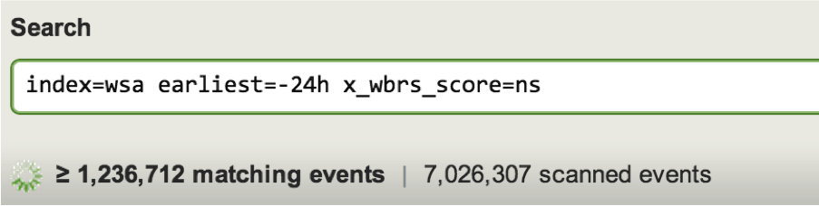 Huge volume of web proxy events; over 1 million events in 24 hours with no reputation score (x_wbrs_score)