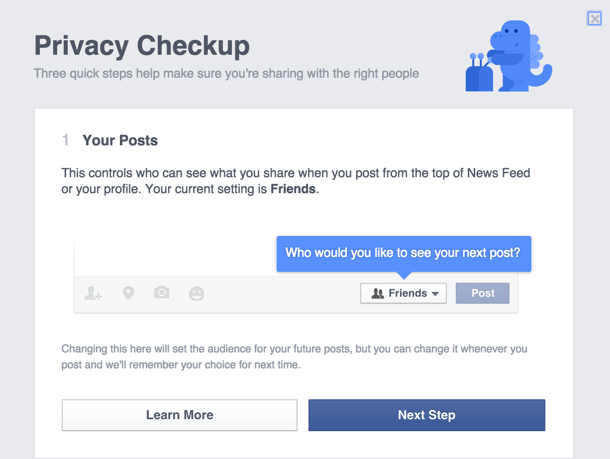 This example represents efforts by Facebook to make privacy settings more understandable and manageable, a great improvement from earlier times