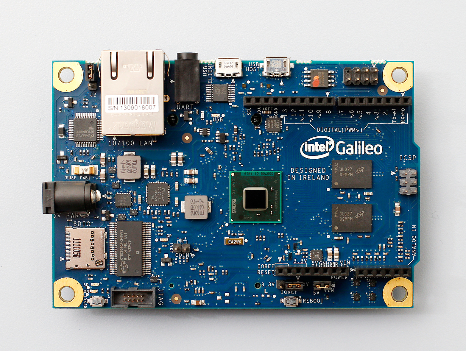 Intel's Galileo is based on the x86 architecture and supports Arduino hardware expansion cards and software libraries (Photo courtesy Intel)