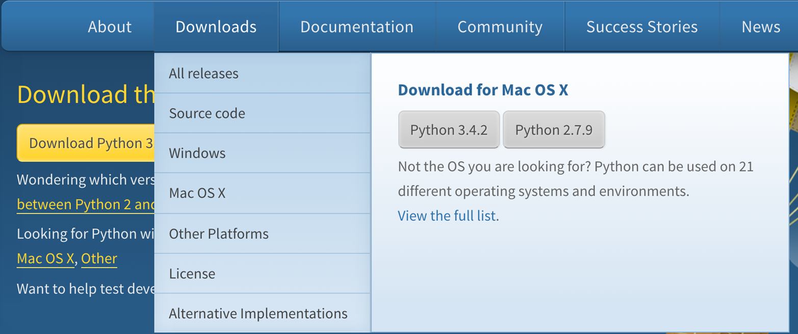 python.org download screen