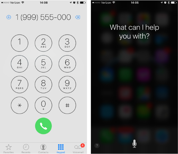 You can use buttons to make a call yourself (left) or ask Siri to dial for you (right)