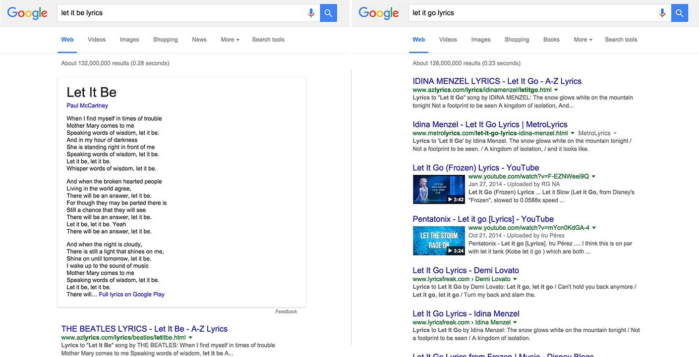 Let it Be and Let it Go lyrics search results