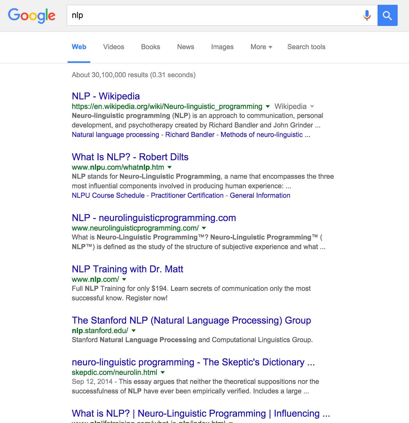 Google search results for NLP.