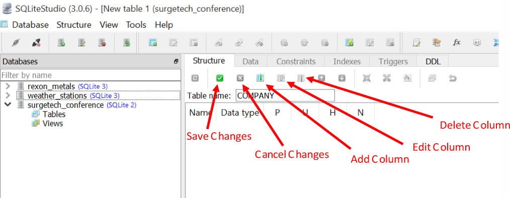 "The table ""Structure"" tab, which we can use to add, modify, and remove columns from a table"