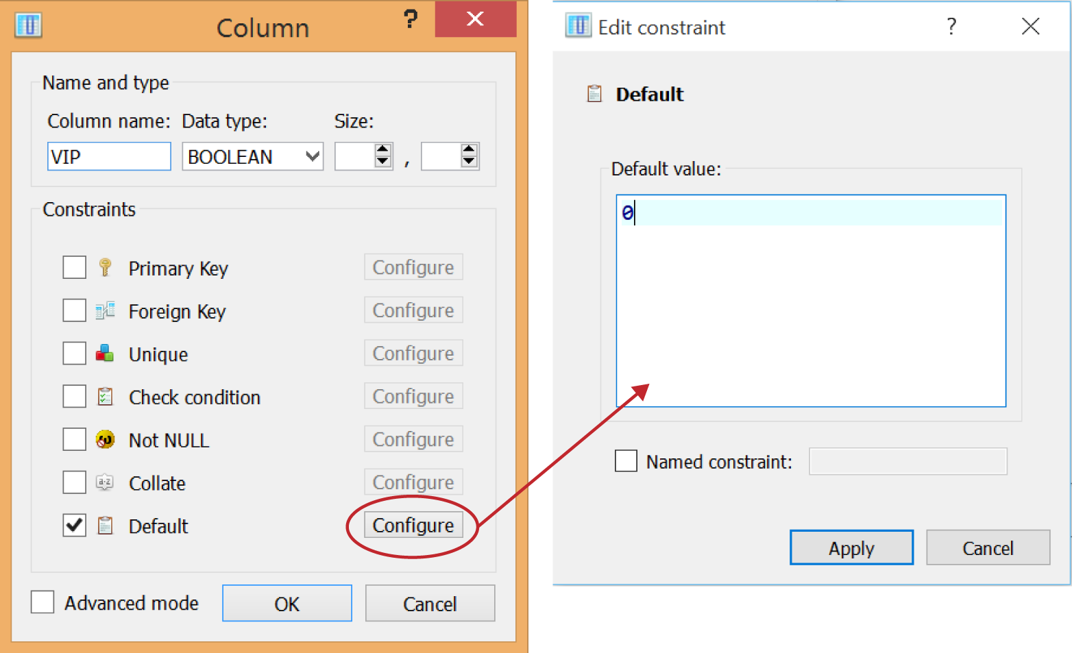 Setting a default value for a column