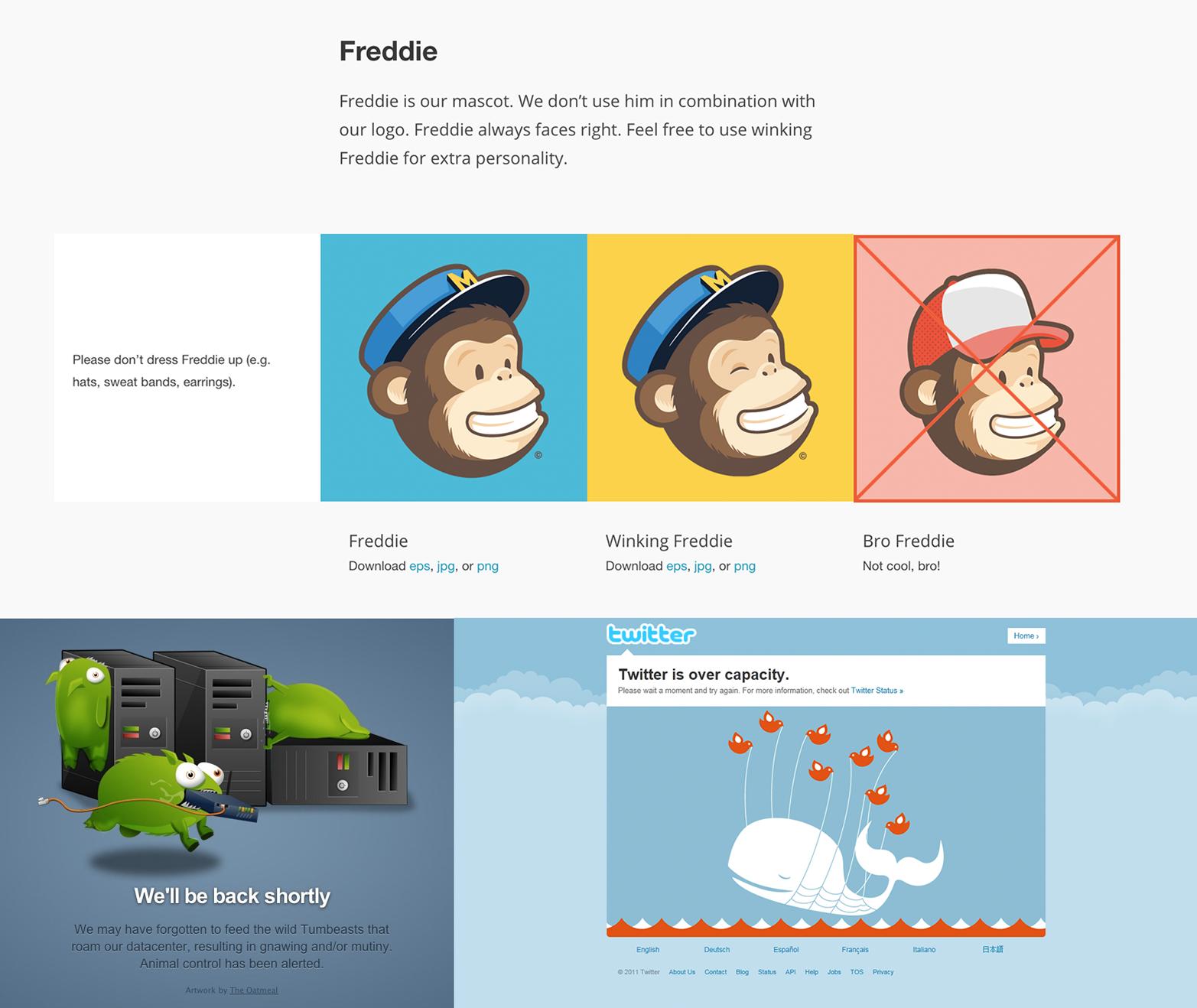 Mailchimp's Freddie (top), Tumblr's Tumblebeasts (bottom left), and Twitter's fail whale (bottom right)