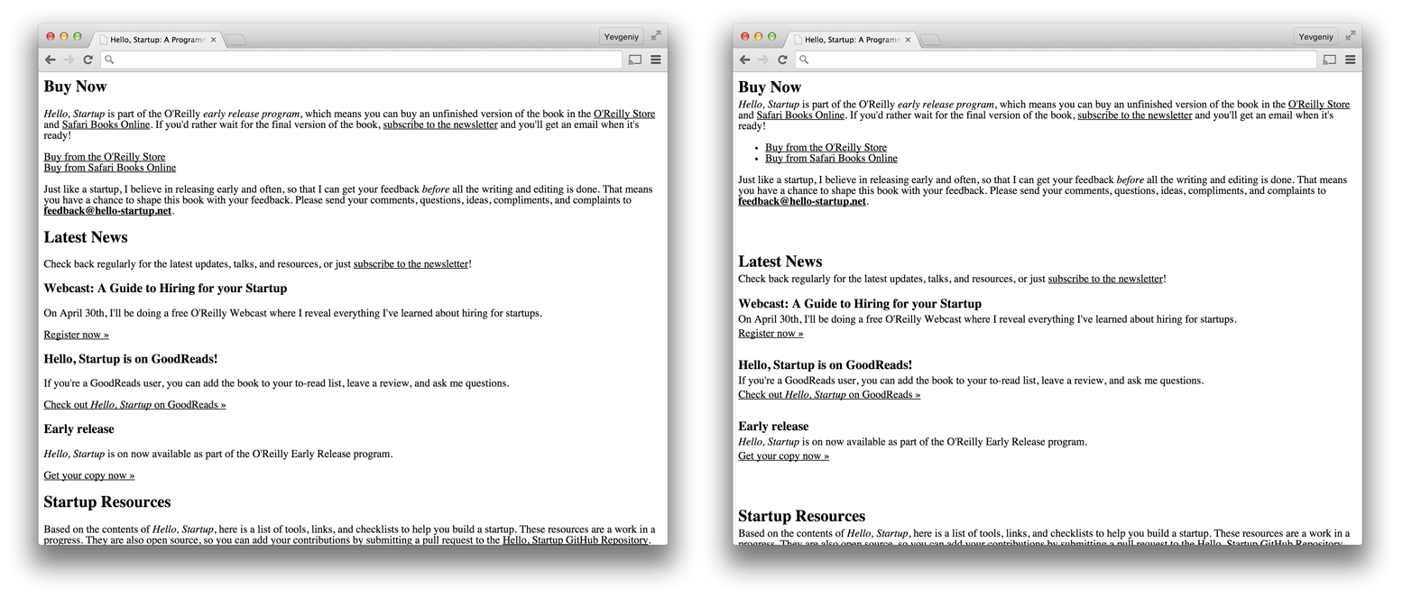 The original hello-startup.net design on the left, and the same design, but with better use of proximity on the right
