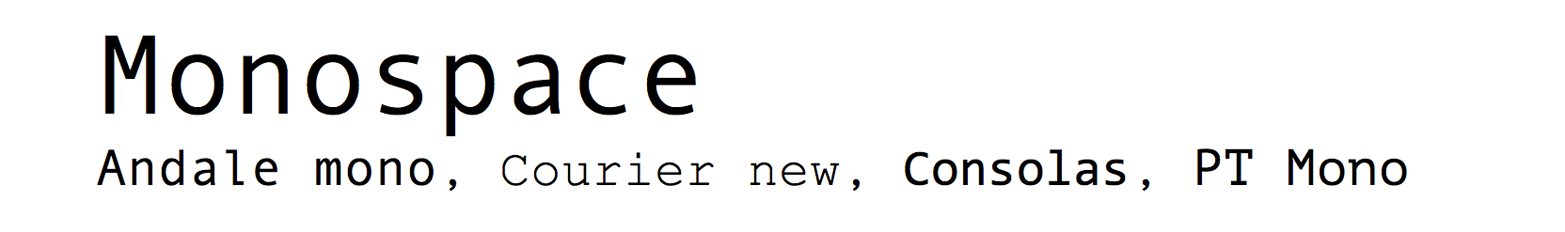 Monospace typefaces