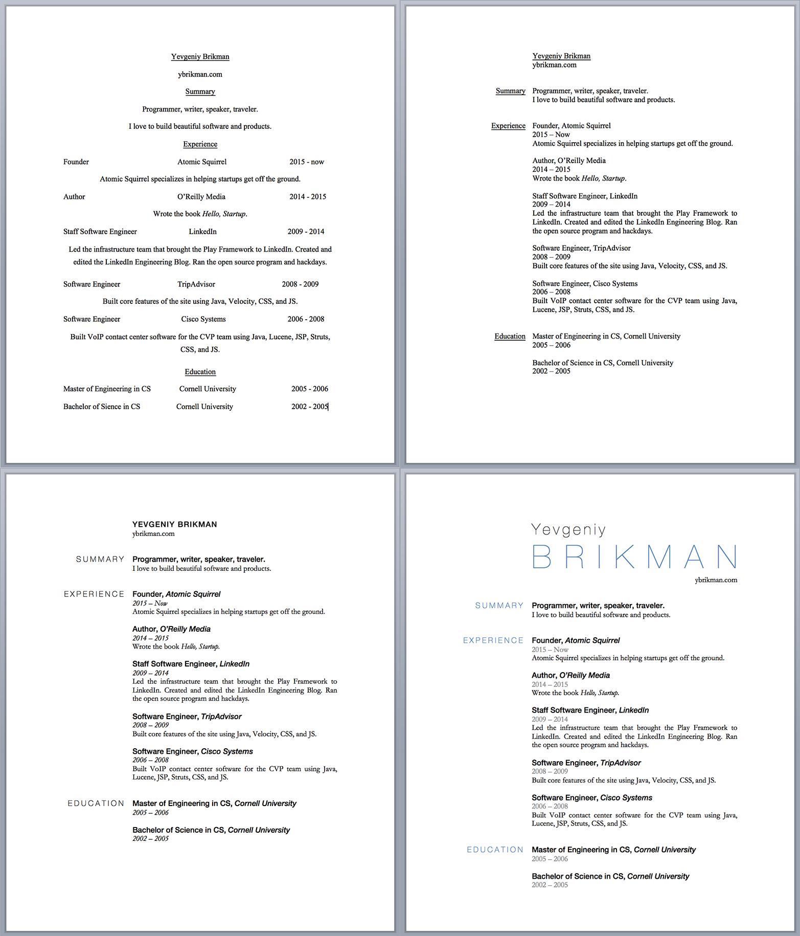 The progression of the resume design.