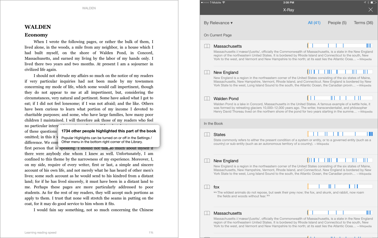The Kindle iPad app includes features that use metadata to allow you to explore books in interesting new ways that were previously impossible