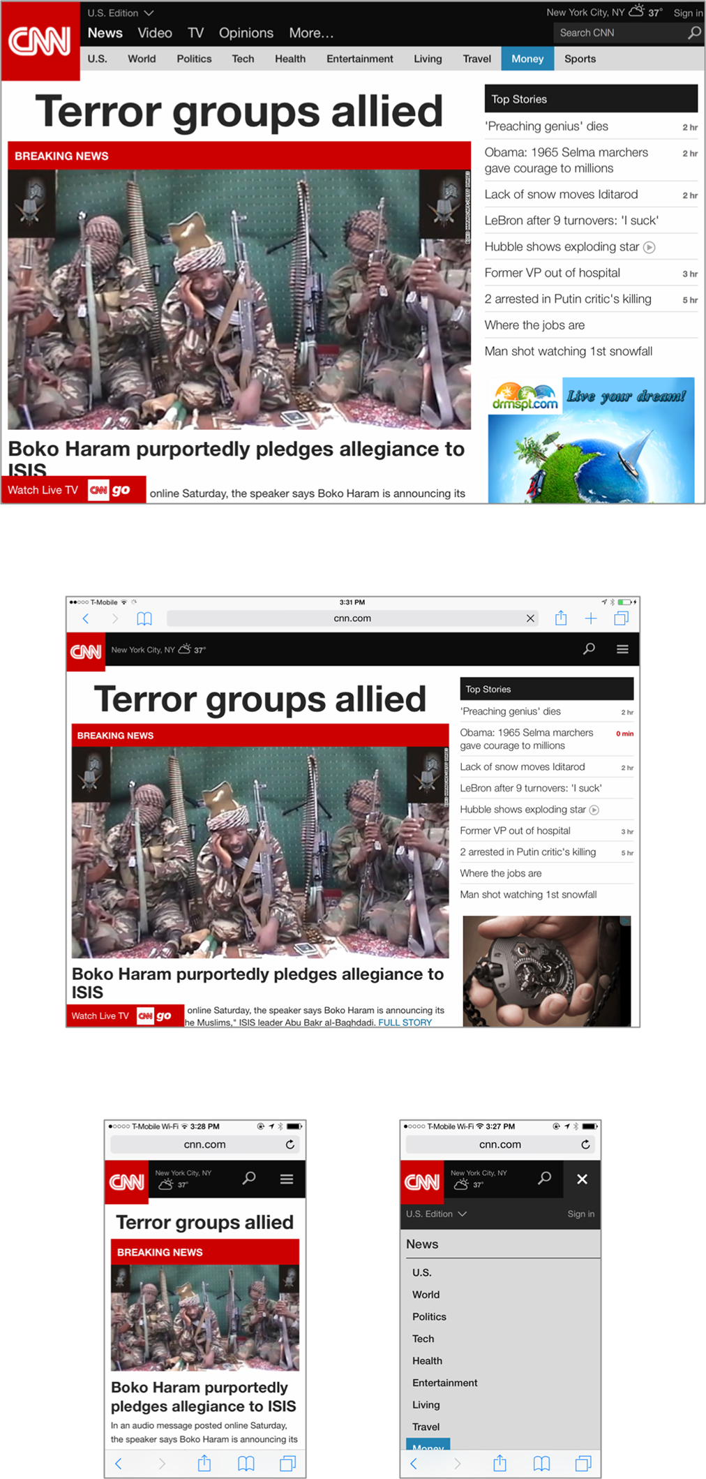 CNN's website uses a responsive layout that adapts page elements to fit different screen sizes, while offering a coherent experience