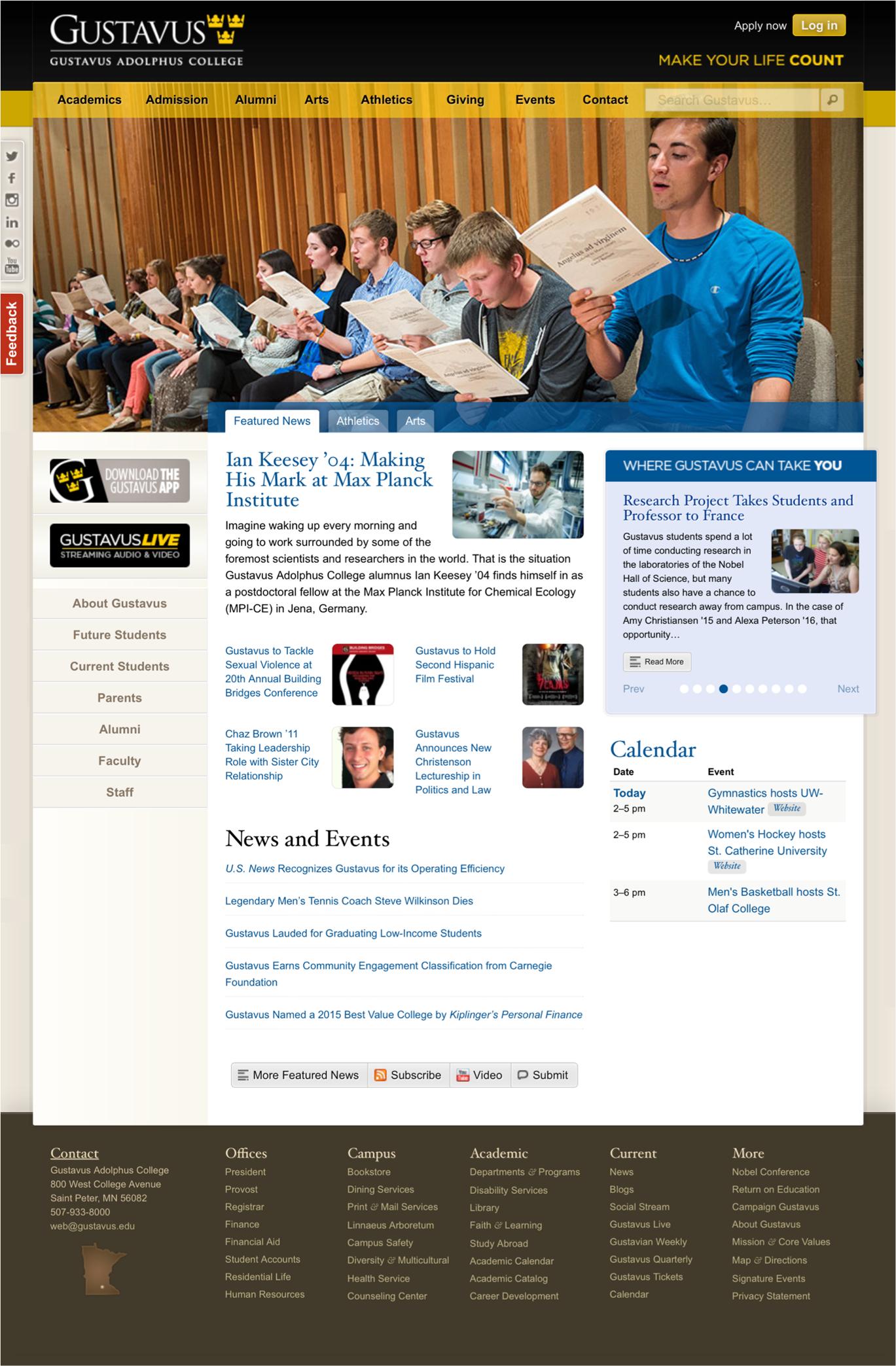 Gustavus Adolphus College's main page