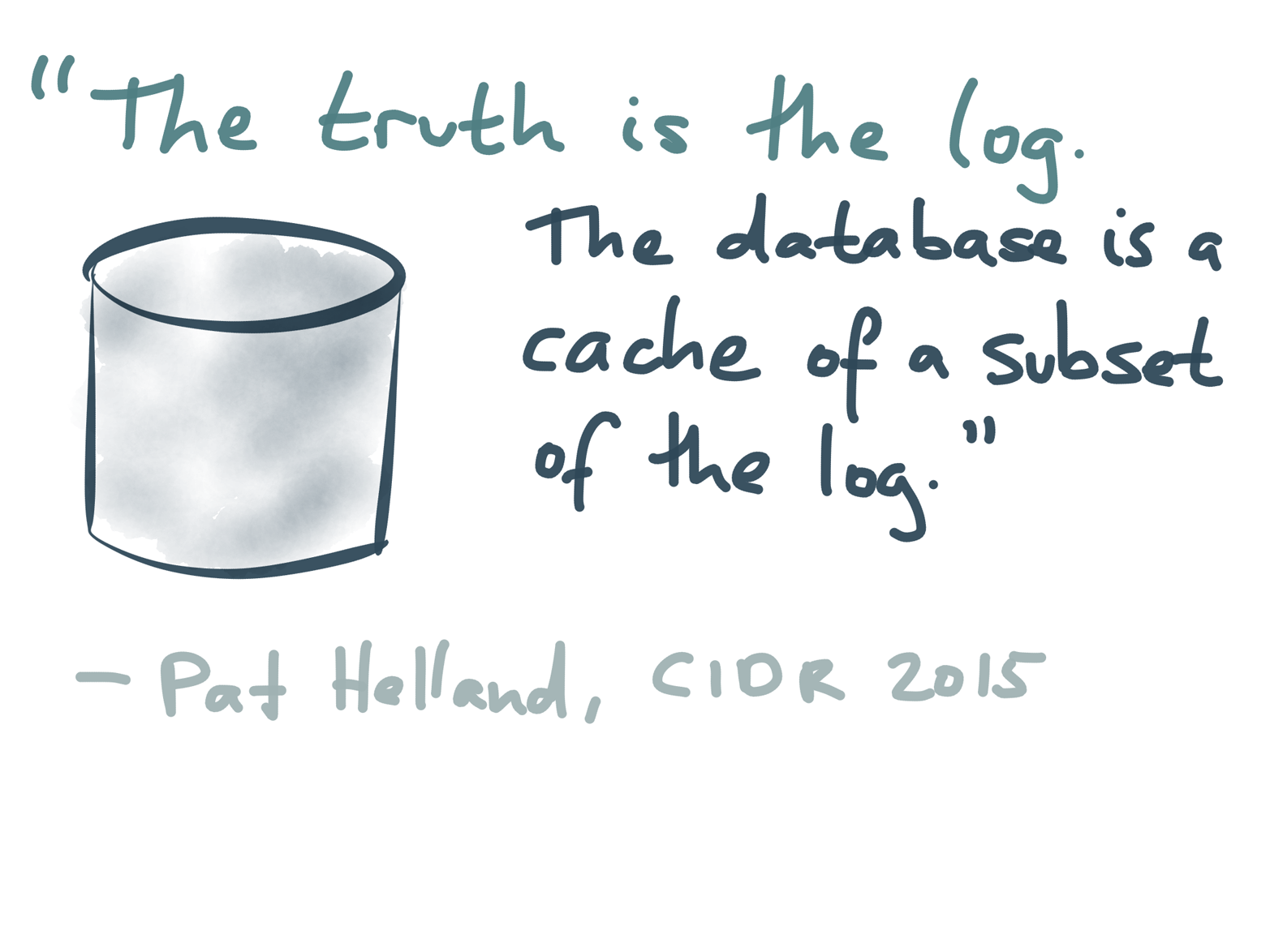 "The idea of using the log as source of truth appears in various different places.Pat Helland: ""Immutability Changes Everything,"" at 7th Biennial Conference on Innovative Data Systems Research (CIDR), January 2015."