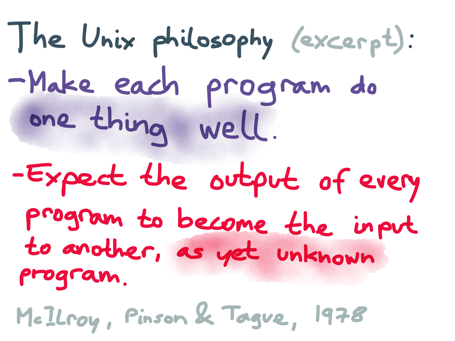 Two aspects of the Unix philosophy, as articulated by some of its designers in 1978.