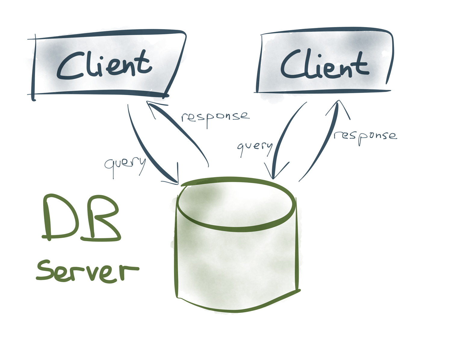 In database systems, servers and clients serve two very different roles.