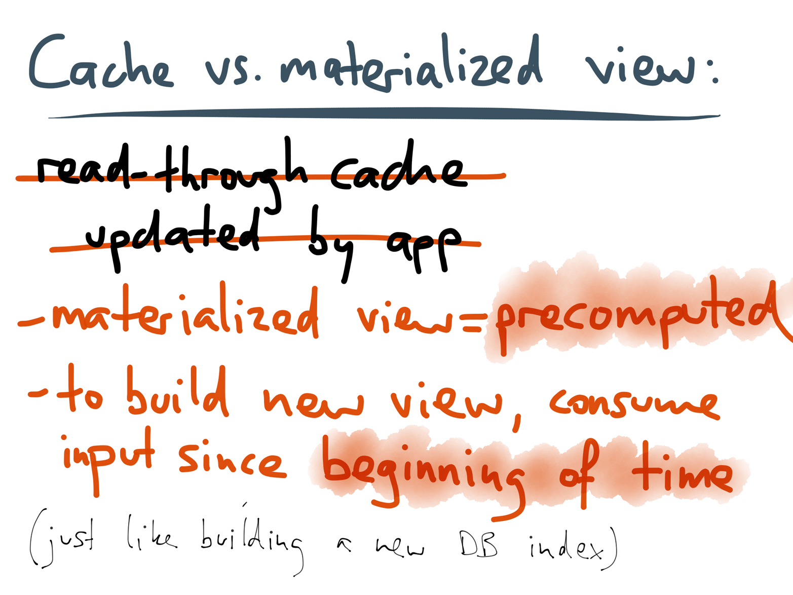 Advantages of a materialized view over an application-managed read-through cache.