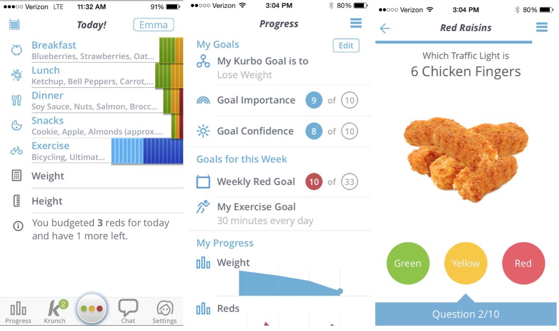Three screens from the Kurbo app.