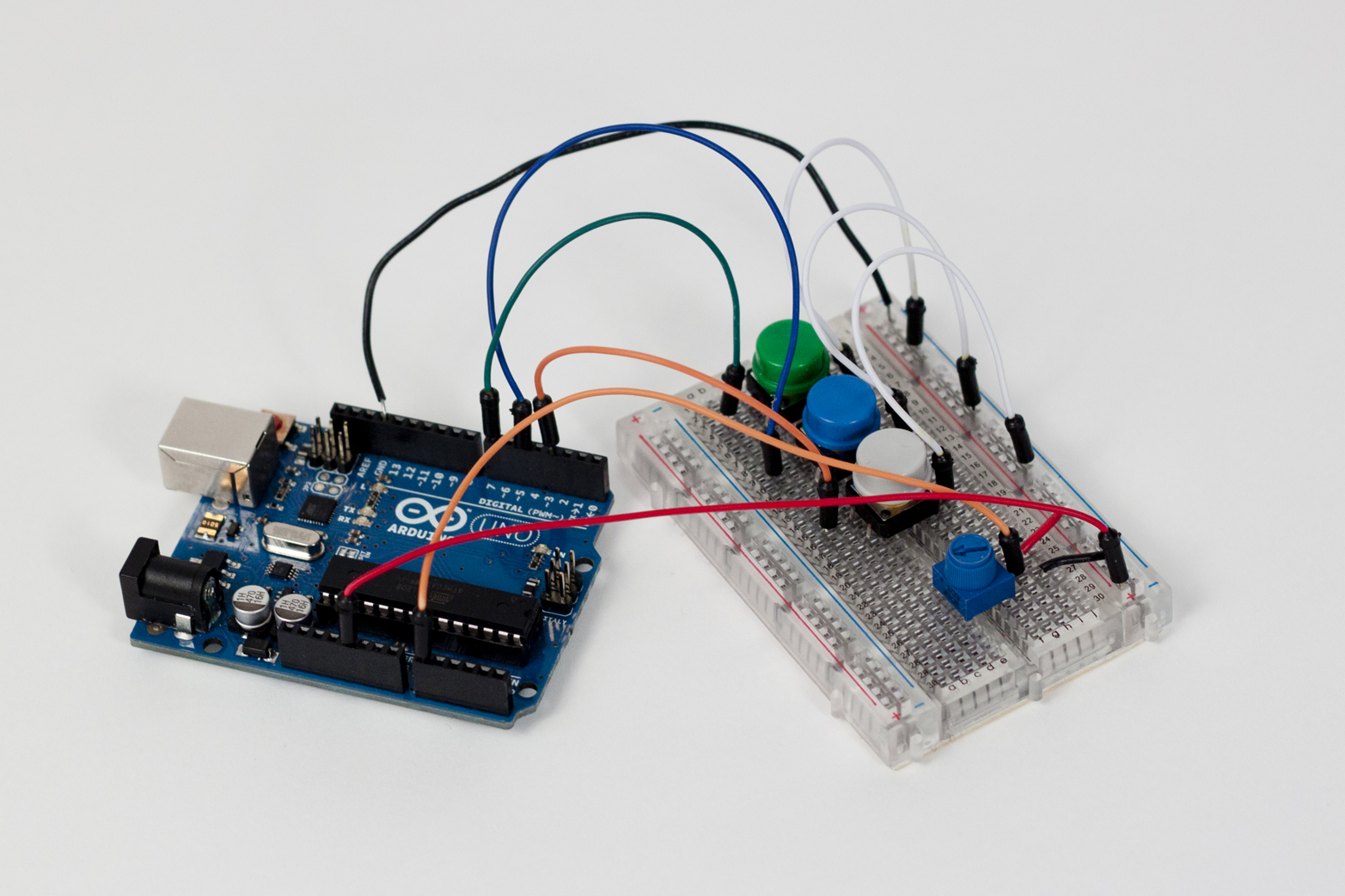 An Arduino Uno with a breadboard allows for making simple or complex circuits without soldering