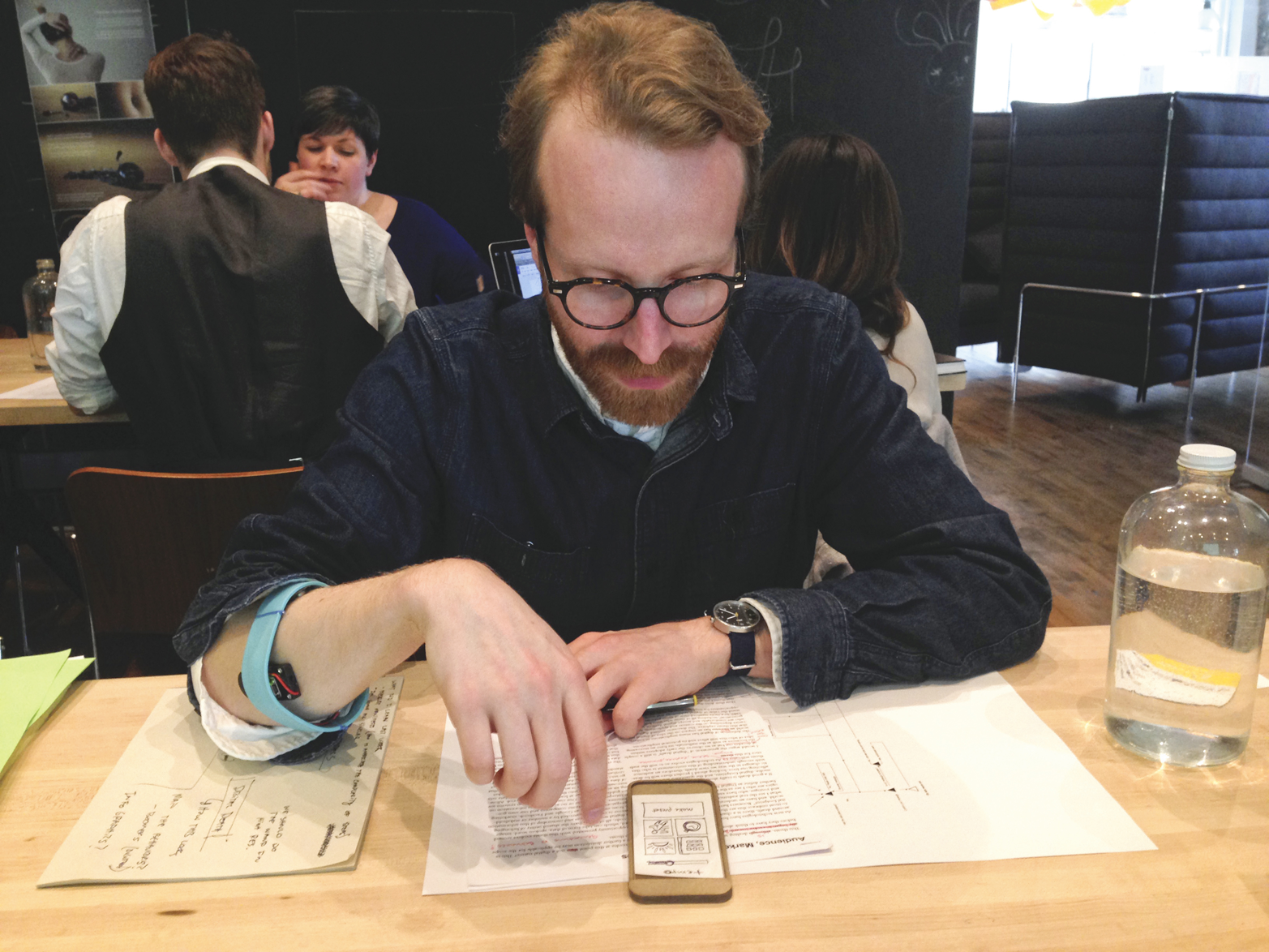 The third prototype tested longer-term wearability and user interaction with a low-fidelity app sketch