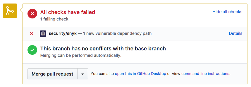 Failing a pull request test due to a newly added vulnerable library