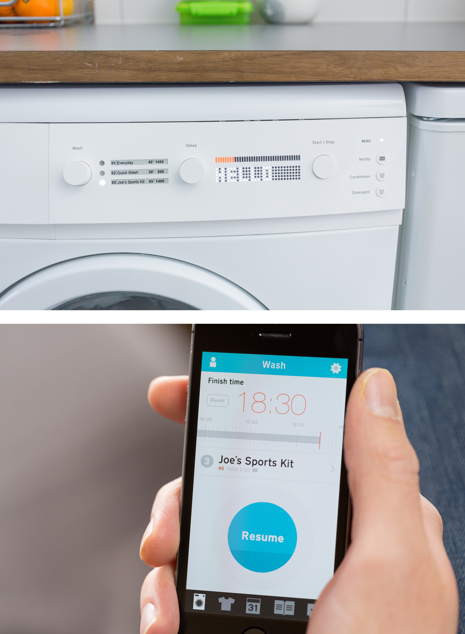 The design and product company BERG produced a beautiful concept prototype for a connected washing machine. The video4 BERG, 2013, Cloudwash, http://vimeo.com/87522764. shows instant responses between the mobile app and washing machine, running over the Internet. In a real-world situation, this could not be guaranteed (images: Timo Arnall of BERG).