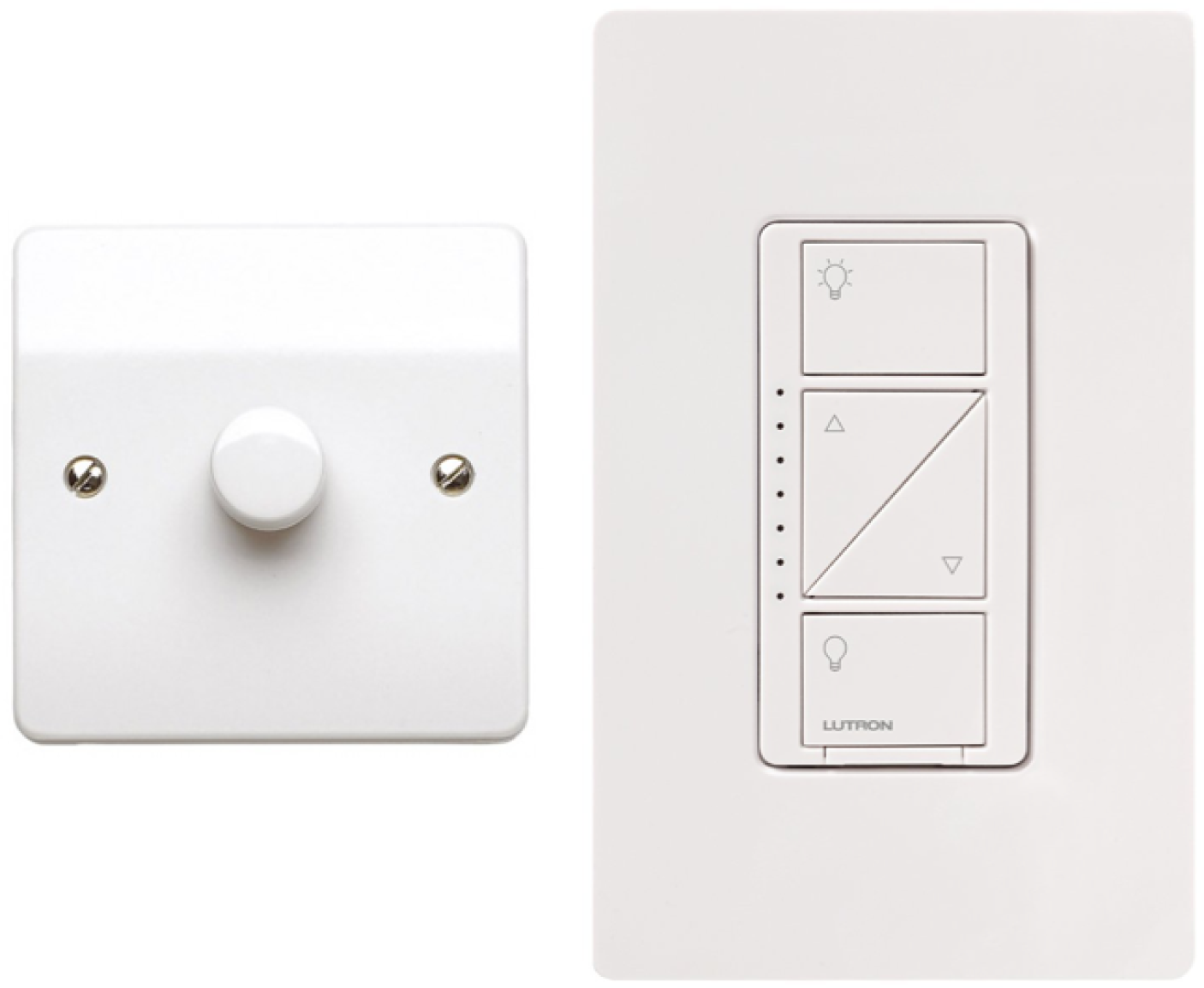 A conventional dimmer switch, and a connected dimmer; note the LED strip down the left, used to indicate dimming level (Image: Lutron).