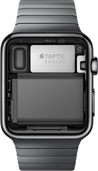 The Taptic Engine is a linear actuator inside the Apple Watch that can tap the user on the wrist (image: Apple).