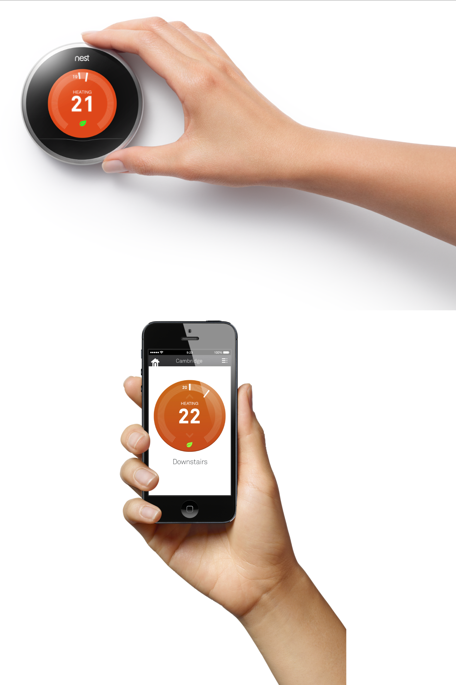 "The Nest thermostat's primary user input method is a rotating bezel. But the smartphone app is optimized for tapping: it does not simulate dragging a fake bezel. The thermostat and app use complementary visual styling—tapping the smartphone interface produces the same subtle ""click"" as rotating the bezel on the physical device. This helps the interfaces feel like part of the same family (images: Nest)."
