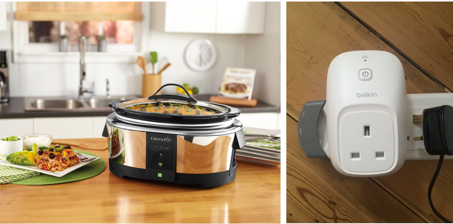 Smart outlets, like the Belkin WeMo switch, are tools; the Crock-Pot Slow Cooker with WeMo is a product (image: Belkin).